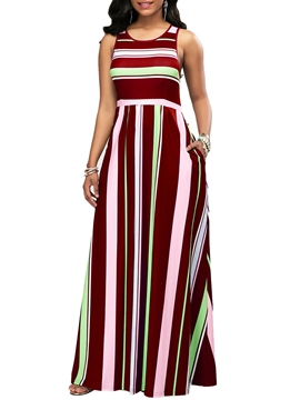 Ericdress Stripe High-Waist Pullover Maxi Dress