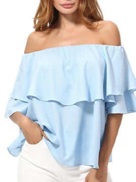 Ericdress Loose Off Shoulder Plain Layered Short Sleeve Womens Top