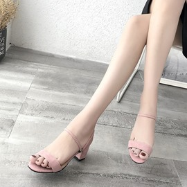 Ericdress Plain Ankle Strap Open Toe Chunky Sandals