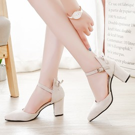 Ericdress Plain Pointed Toe Heel Covering Chunky Sandals