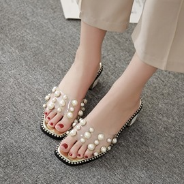 Ericdress Rhinestone Beads Slip-On Chunky Heel PVC Sandals