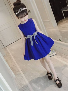 Ericdress A-Line Plain Bowknot Sleeveless Girl's Casual Dress