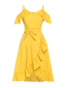 Summer Lace-up High Split Ruffle Hem Day Dress