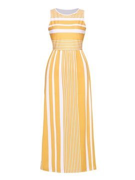 Ericdress Yellow Stripe Color Block Pullover Bodycon Dress