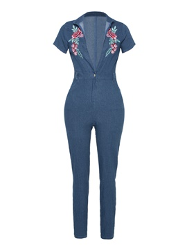 Ericdress Skinny Floral Denim Women's Jumpsuit
