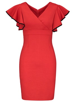 Ericdress Red V-Neck Pleated Wave Cut Zipper A-Line Dress