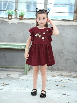 Ericdress Floral Embroidery Cap Sleeve A-Line Girl's Casual Dress
