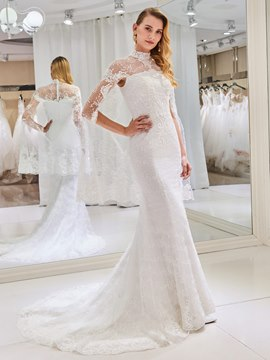 Ericdress High Neck Mermaid Lace Beaded Wedding Dress