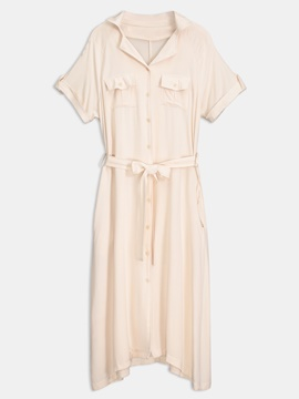 Beige Short Sleeve Lace up Women's Day Dress