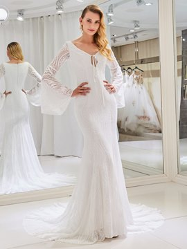 Ericdress Lace Long Sleeves Mermaid Wedding Dress