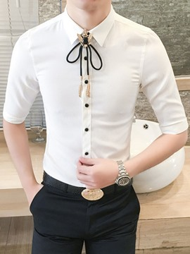 Ericdress Plain Half Sleeve Slim Fit Mens Casual Businese Shirts