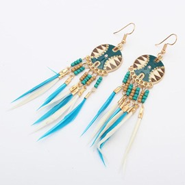Ericdress Tassels Feather Earrings
