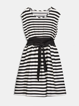 Black Striped Women's Day Dress