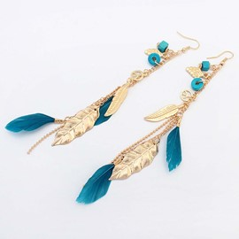 Ericdress Feather Boho Drop Earrings