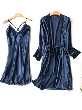 Ericdress Backless Cross Strap Lace Robe and Nightgown 2 Pieces