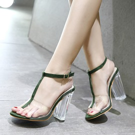 Ericdress Patchwork Strappy Chunky Heel PVC Sandals