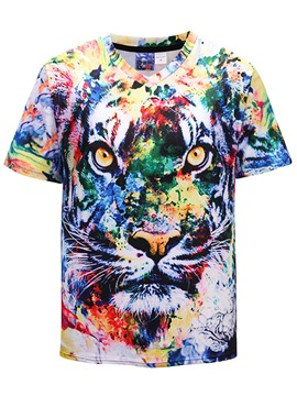Ericdress Animal Printed Color Block Mens V-Neck T Shirts