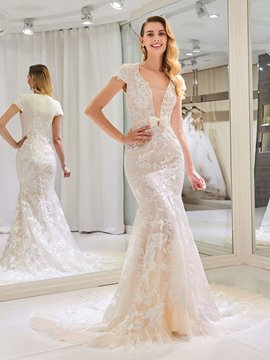 Ericdress Mermaid Lace Color Cap Sleeves Wedding Dress