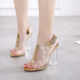 Ericdress Patchwork Strappy Peep Toe PVC Chunky Sandals