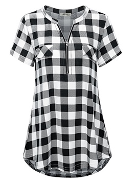 Ericdress Gingham Zipper Short Sleeve Womens Top
