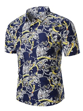 Ericdress Blue Floral Printed Loose Mens Short Sleeve Shirts