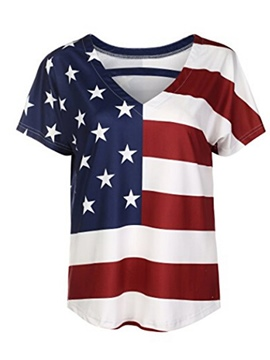 Ericdress Notch-V Print Stripe Star Short Sleeve Womens T Shirt