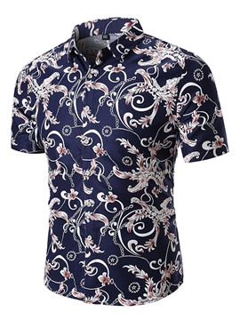 Ericdress Floral Printed Loose Short Sleeve Mens Shirts