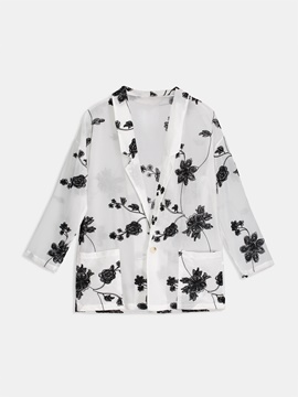 One Button Floral Pocket Women's Blouse