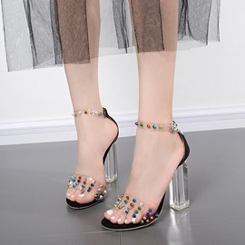 Ericdress Rivet Heel Covering Chunky Heel PVC Sandals