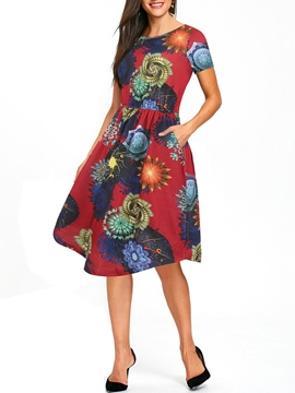 Ericdress A-Line Print Women's Dress