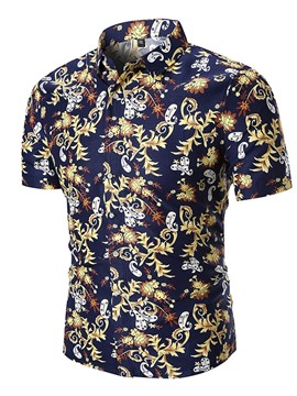 Ericdress Dark Blue Printed Loose Mens Short Sleeve Shirts