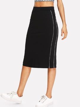 Ericdress Bodycon Plain Vent Side Stripe Skirt
