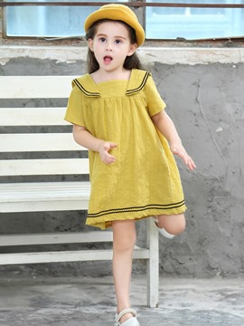 Ericdress Stripe Button A-Line Girl's Casual Dress