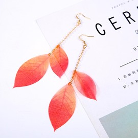 Ericdress Rose Red Leaves Drop Earrings