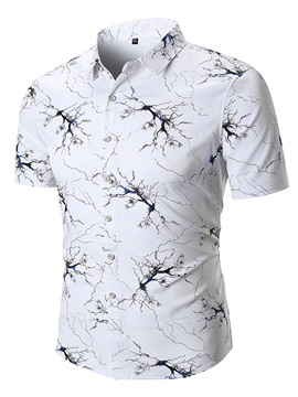 Ericdress Plant Printed Loose Lapel Mens Short Sleeve Shirts