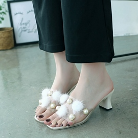 EricdressPVC Beads Pompon Slip-On Mules Shoes