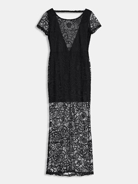 Ericdress Hollow Backless Embroidery Casual Dress
