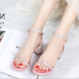 Ericdress Rhinestone Ankle Strap Open Toe Chunky Sandals