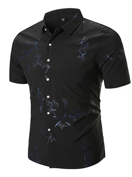 Ericdress Plant Print Loose Plain Mens Short Sleeve Shirts