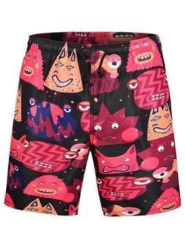 Ericdress Cartoon Printed Color Block Mens Beach Board Swim Shorts