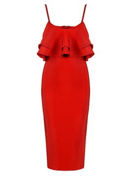 Ericdress Red Ruffles Backless Patchwork Bodycon Dress