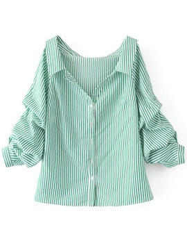Ericdress Button-Down Stripe Long Sleeve Womens shirt