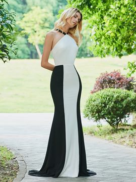 Ericdress Halter Black And White Mermaid Evening Dress