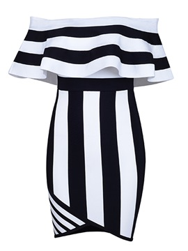 Ericdress Slash Neck Backless Stripe Bodycon Dress