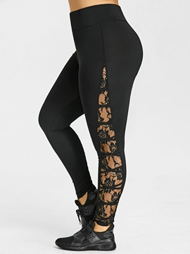 Ericdress Plain Lace Patchwork Women's Leggings
