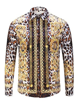 Ericdress Dashiki Lapel Leopard Stripe Print Men's Slim Fit Shirts