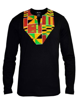 Ericdress Color Block Printed Mens Long Sleeve Shirts
