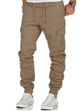 Ericdress Plain Thin Lace Up Mens Casual Pants