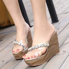 Ericdress Rhinestone Slip-On Wedge Heel PVC Sandals