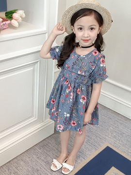 Ericdress Floral Printed Pullover Girl's Casual Dress